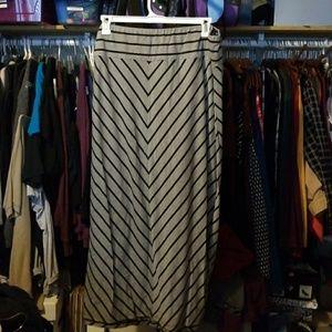 Gray and black stripe maxi skirt